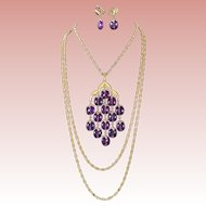 Set Crown Trifari Purple Waterfall Gold Tone Necklace and Earrings