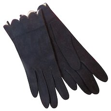 French Navy Blue Suede Gloves Buttoned Wrist Length 1950s