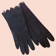 Retro French Navy Blue Suede Gloves Buttoned Wrist Length 1950s