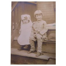 RPPC Two Children Dressed In The Manner Of World War I Nurse and Soldier