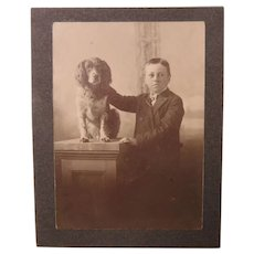 Early Studio Photo of Young Boy and His Dog a Springer or Cocker Spaniel