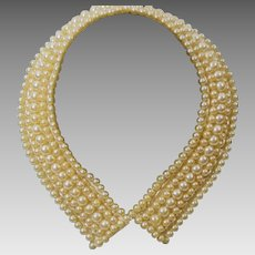 1950s Faux Pearl Beaded and Satin Lined Pixie Collar