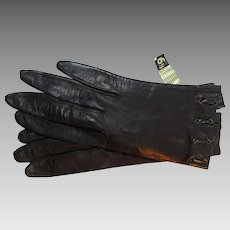 Kid Gloves Silk Lined Made in Italy Shortie Size 6 1/2 Never Worn