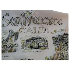 1950s Pink and Black San Francisco Scenes Scarf