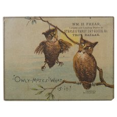 1880s Trade Card Two Owls and One of Them is Hanging by a Noose