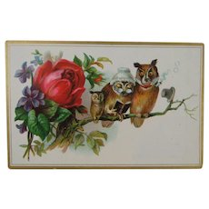 Owls on a 19th Century Trade Card With Flowers