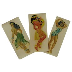 Vintage Decals of Hawaiian Dancing Ladies Circa 1950
