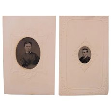 1868 Gem Mini Tintypes Ornate Paper Frames and Tinted Cheeks