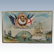 1909 Tuck's Post Card Henry Hudson Memorial Bridge With Ship Image
