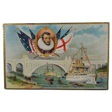 1909 Tuck's Post Card Henry Hudson Memorial Bridge With Ship Image