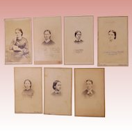 Seven Carte De Visite Images of Women Dating From the 1860s