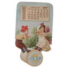 1894 Clark's Spool Cotton Die-Cut Calendar with Children on a Spool Swing