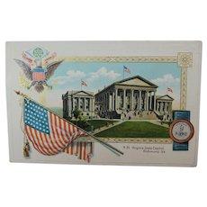 1911 Post Card Virginia State Capital Building 48 Star Flag