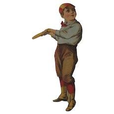 5 Inches Tall Ephemera Little Boy In a 1890s Baseball Uniform