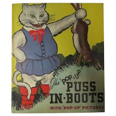 1934 1st Ed. Puss In Boots Pop-Up Edition Illus. Cloud & Lentz Blue Ribbon Press