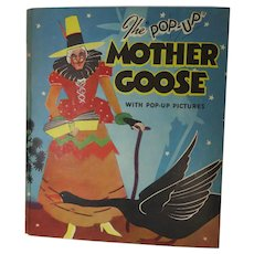 1934 1st Ed. Mother Goose Pop-Up Book Illus. by Lentz Blue Ribbon Press NY