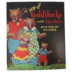 1934 1st Ed. Goldilocks and the Three Bears Pop-Up Book Illus Cloud & Lentz Blue Ribbon Press NY