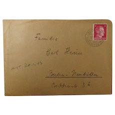 German Historic Letter Handwritten and Posted in 1943 to Berlin