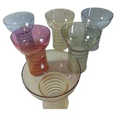 Gem Like Colors on Six Flashed Tumblers or Water Goblet Set