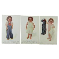 My Overalls My Underalls My All and Alls Set of 3 Postcards
