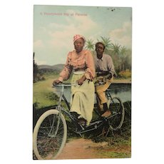1909 Panama  Post Card Man and Woman on Bicycle Built for Two