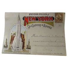 Early 20th c. Souvenir Folder Of New York Pictures in Color Postcard