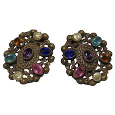 Dress Clips Pair from 1930s Richly Jewel Toned
