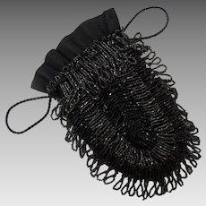 Beaded Handbag Wristlet Diminutive Black Beaded Flapper Bag