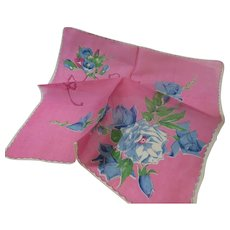Vintage Pink Hanky With Large Blue Roses