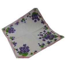 Vintage Hanky Sweet Violets Pink Ribbon Linen