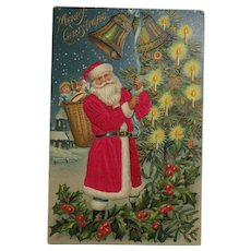 Santa In A Red Silk Robe Postcard Embossed