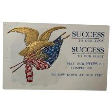 Vintage Patriotic Postcard Golden Eagle and American Flag