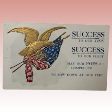 Vintage Patriotic Postcard Golden Eagle and American Flag