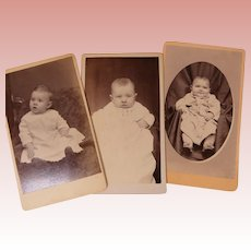 3 Carte de Visite 19th c Baby Photographs