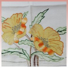 Arts and Crafts Era Hand Embroidered Linen Table Mat