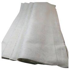 Damask Belgium Linen White Formal Large Tablecloth