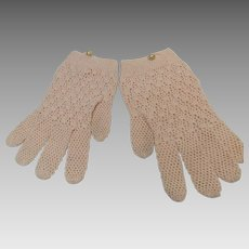 Crochet Light Pink Shortie Gloves Women's