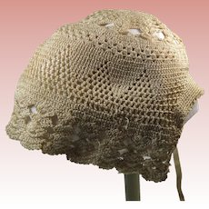 Edwardian Era Crochet Baby Infant Bonnet Ecru in Color