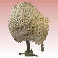 Edwardian Era Crochet Baby Infant Bonnet Ecru in Color