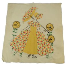 Quilt Square Block Applique and Embroidery c1930s