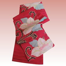 Japanese Obi Peony Flowers On Regal Red Han Habba