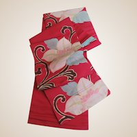 Peony Flowers On Regal Red Japanese Obi
