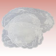 Set of 3 Dragon Embroidered White Linen Doilies