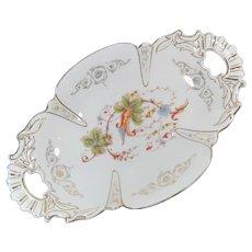 German Porcelain Two Handled Bread Bowl Pre 1890