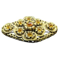 Handsome Brooch Golden Faux Gems Early 20th c