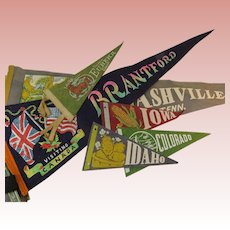 Lot of 6 Felt Pennants Early 20th Century