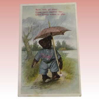 Rain Rain Go Away Teddy Bear Post Card 1910
