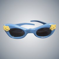 Vintage HTF 1950s Fancy Floral Trimmed Blue Glasses