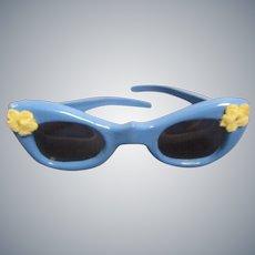 Vintage HTF 1950s Fancy Floral Trimmed Blue Glasses