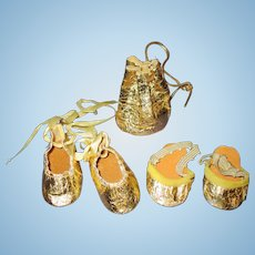 Vintage 1950s Doll Shoes-Slippers-Purse